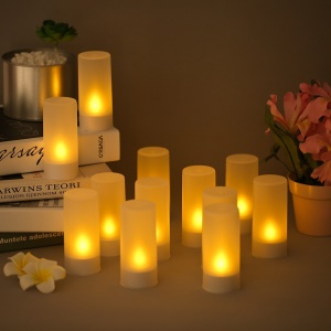 12pcs/set Rechargeable LED Flameless Candles Tealight Candles Lights - EU Plug