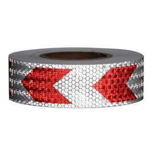 Arrow Safety Warning Conspicuity Reflective Tape Strip Sticker - Silver / Red