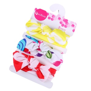 3Pcs 34-50cm Knotted Cotton Baby Elastic Headbands for 0-2 Years Old - Style 1