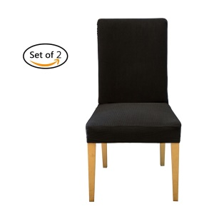 Elastic Removable Spandex Stretch Dining Chair Seat Cover Slipcover Protector - Black / 2Pcs/Set
