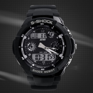 Waterproof Men Digital LED Alarm Date Sports Wrist Watch - Black