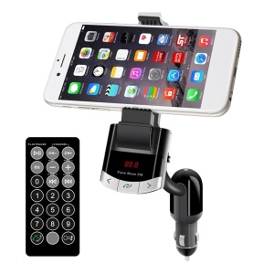 Vehicle-mounted Bluetooth 2.1 Handsfree FM Transmitter Car Charger MP3 Player Smart Phone Holder Kit - Black