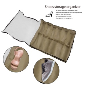 Transparent 12 Grids Space Saving Shoes Storage Organizer with Handle