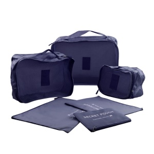 6 Pcs/Set Square Travel Luggage Storage Bags Clothes Organizer Pouch Bag - Dark Blue