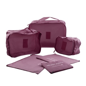6 Pcs/Set Square Travel Luggage Storage Bags Clothes Organizer Pouch Storage Case - Wine Red