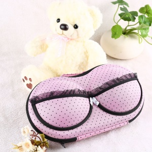 Women Portable Bra Storage Box Protect Bra Organizer Underwear Travel Bag Case - Pink