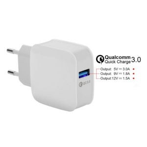Universal Quick Charge QC 3.0 Wall Charger Switching Adapter for iPhone Samsung Huawei Etc. - White/EU Plug