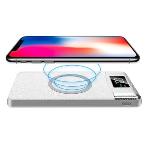 Qi Wireless Charger 10000Amh Dual USB Ports Digital Power Bank with Flashlight - White