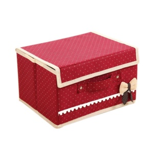 Bowknot Pattern Non-woven Storage Box Case Clothes Container - Red