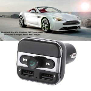 BT20 Bluetooth Car Kit Wireless FM Transmitter Dual USB Charger Audio MP3 Player - Black