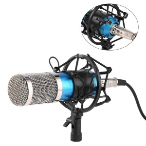 BM-800 Professional Studio Recording Broadcasting Condenser Microphone with Shockproof Mount - Blue / Silver