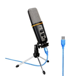 AK-6 USB Podcast Microphone Headphone Monitoring Vocal Condenser Mic with Tripod for PC