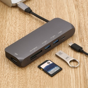 260A USB Type-C to HDMI + SD/Micro SD + USB 3.0 Hub + Type-C PD Charging Converter Adapter with Hidden Cable
