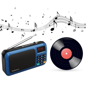 ROLTON W405 Portable Mini Stereo Music Speaker FM Radio Speaker Support TF Card/Aux-in with Flashlight - Blue