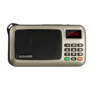 ROLTON W405 Mini Stereo Music Speaker FM Radio Support TF Card/Aux-in with Flashlight - Champagne