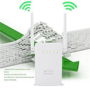 Portable Size Wireless Router Super Fast 300Mbps Data Rate WiFi Repeater - US Plug