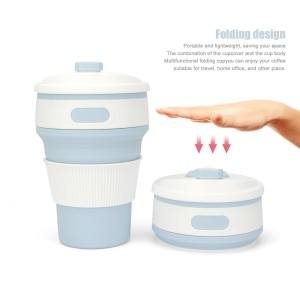Stylish Collapsible Silicone Folding Portable Retractable Mug Cup for Outdoor - Blue