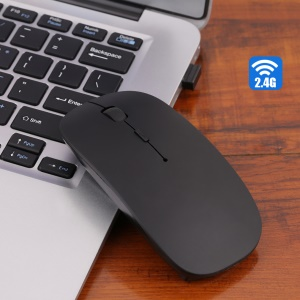 2.4G Wireless 1200DPI Ultra-Thin Optical Mouse for Laptop - Black