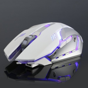 X7 Ergonomic Gaming Mouse 6 Buttons Luminous 2.4G Wireless Computer Mouse - White