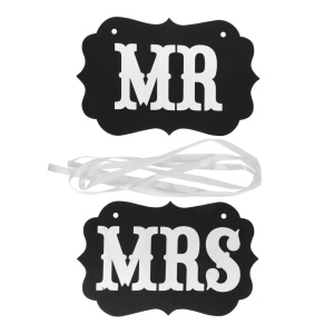 Mr & Mrs Letter Signs Banner for Wedding Party Photography Props Accessories