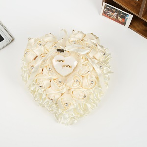 Romantic Rose Favors Heart Shaped Wedding Gift Ring Box Pillow Decoration - White
