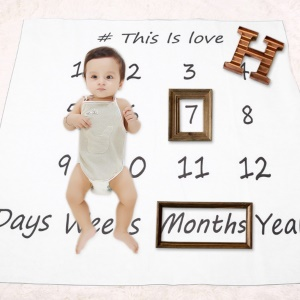 Swaddle Newborn Cotton Blanket Monthly Milestone Baby Photography Props