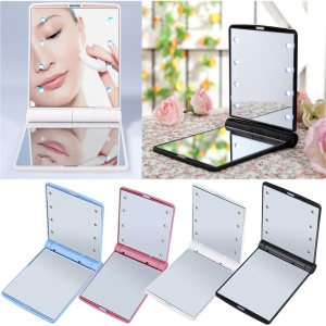Folding Portable Make Up Mirror Lady Cosmetic Mirror Built-in LED Bulbs Mirror - Pink