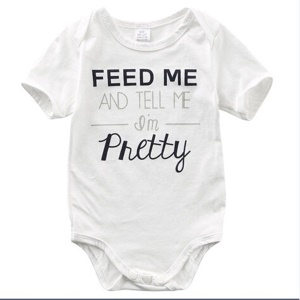 Unisex Letter Print Open Crotch Cotton Short-sleeved Bodysuit - White / Size: 0-3 Months