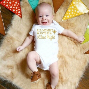 K375 Short Sleeve Baby Romper for Newborn Infant Boy Girl with Trendy Letters Print - S: 0-3 Months