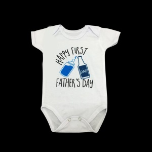 Fashion Water Bottle Pattern & Letters Print Unisex Newborn Baby Cotton Romper - Size: S (0-3 months)