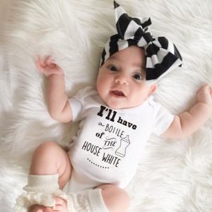 Unisex Baby Short Sleeves Letter and Milk Bottle Pattern Summer Triangle Romper - Size: S (0-3 Months)