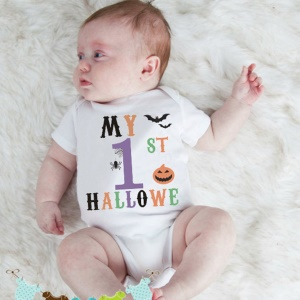 K390 Baby Boys Girls Short Sleeve Romper Hallo We Printed Bodysuit Infant Jumpsuit - M: 3-6 Months