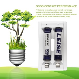 LEISE 2 Slots Smart USB Battery Charger for AA & AAA Ni-MH Batteries - White