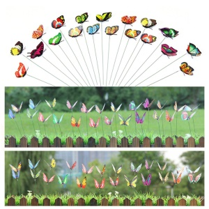 24Pcs Artificial Butterfly with Stick Garden Decorations Simulation Butterfly