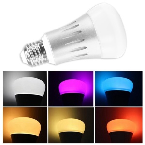 E27 7W Wifi Smart Bulbs APP Remote Control Dimmer Colorful RGBW Light Bulb - Silver