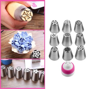 10PCS Russian Tips Icing Piping Nozzles Sphere Ball Pastry Tips & Converter