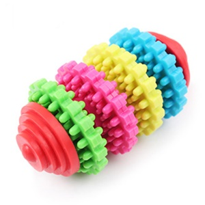 Colorful Rubber Pet Puppy Dental Teething Healthy Teeth Gums Chew Toy Tool