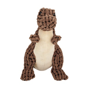 Dinosaur Shape Dog Puppy Squeaky Toy Dog Interacting Teeth Cleaning Chew Toy - Brown