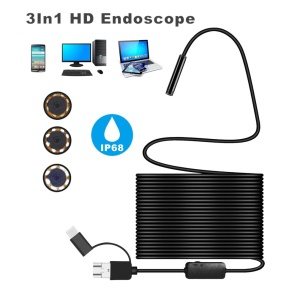 Android 8MM Micro USB/Type-c/USB 3-in-1 Computer Endoscope Borescope Tube - 10m Hard Wire
