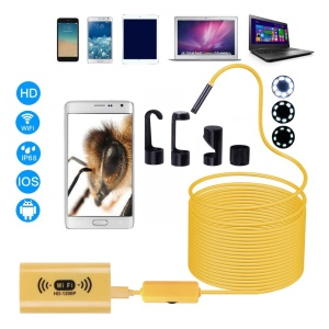 F130 HD 1200P Adjustable 8 LEDs Wifi Endoscope Camera 8.0mm IP68 Hard Cable Line - 1m