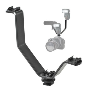 Multifunction Camera Triple Mount Hot Shoe V-shape Mount Bracket Triple for Monitors Microphones