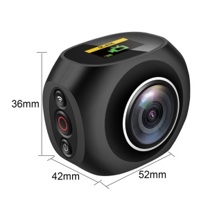 PANO360 4K HD 360° Panoramic Camera VR Unique Dual Lens WiFi Video Action Sport Camera - Black / EU Plug