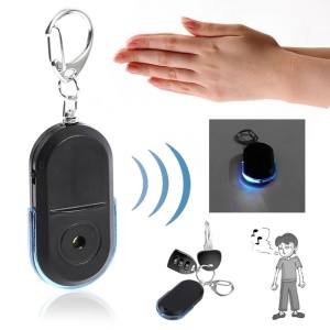 Anti-Lost Alarm Key Finder Useful Whistle LED Light Locator Keychain Finder - Blue