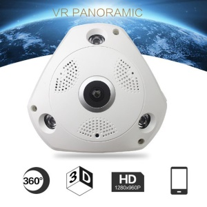 V1-130 Wireless Panoramic Camera Fisheye Lens 360-Degree 960P HD Camera WIFI IP Camera - US Plug