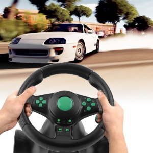 180 Degree Rotation ABS Gaming Vibration Racing Steering Wheel With Pedals
