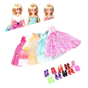 5Pcs Handmade Princess Party Gown Dresses Clothes + 10 Shoes Sets for Barbie Doll