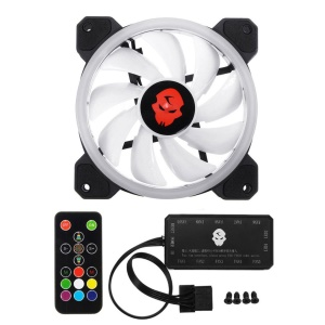 Super Quiet  366 Modes Double Ring 120mm RGB LED Computer PC Cooler Cooling Fan - 1 Piece / With Remote Control