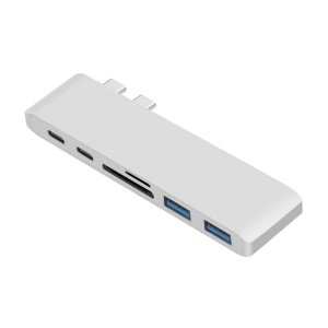 6-in-1 Dual Male Type-C Port to 2 Female Type-C Ports + SD/TF Card Reader + 2 USB 3.0 Ports Hub Adapter - Silver