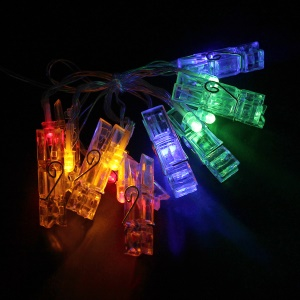 20 LED Card Photo Clip String Lights Battery Christmas Party Wedding Lights - Multi-color