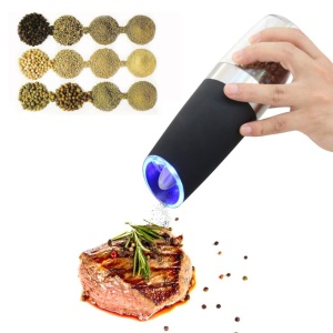Electric Gravity Pepper & Salt Grinder with LED Light Kitchen Grinding Tool